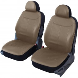 Housse auto pour sièges avant simili cuir taupe