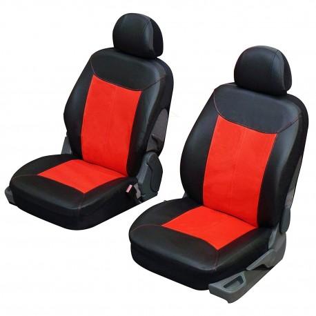 Funda para asientos delanteros en cuero imitación gris negro